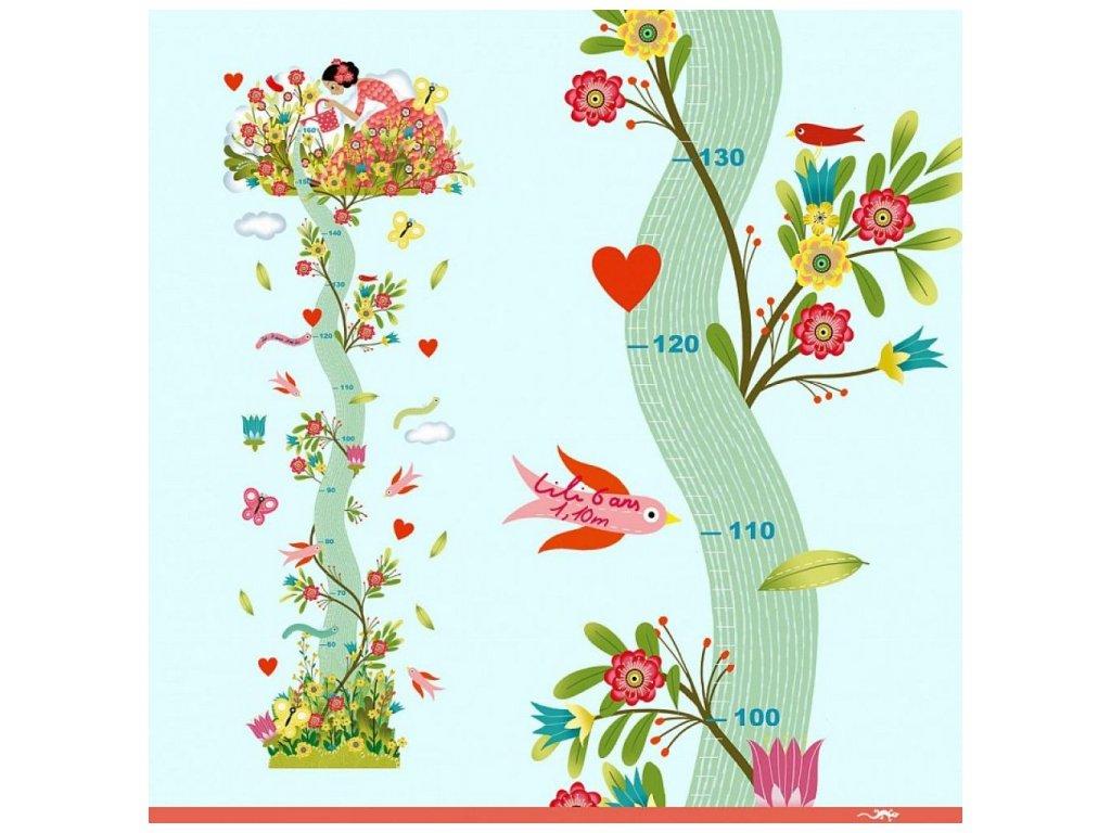 Samolepkový metr na zeď - Dívka a strom