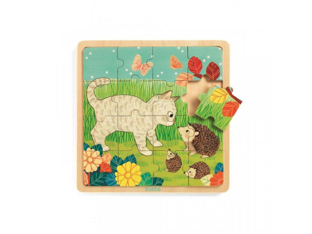 Dřevěné puzzle Na zahradě