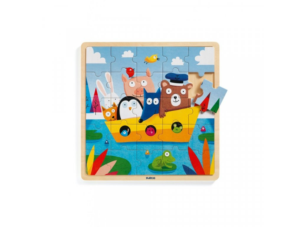 Dřevěné puzzle Loďka