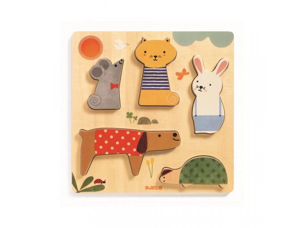 Domácí mazlíčci - vkládací dřevěné puzzle
