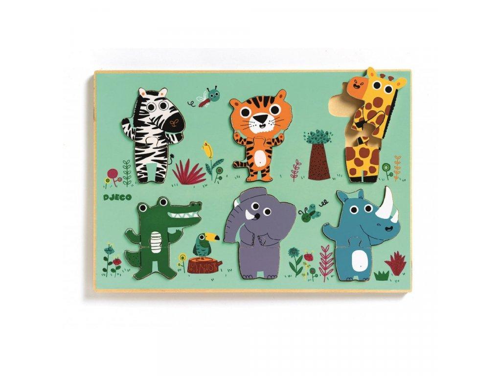 Dřevěné puzzle Zvířátka ze zoo