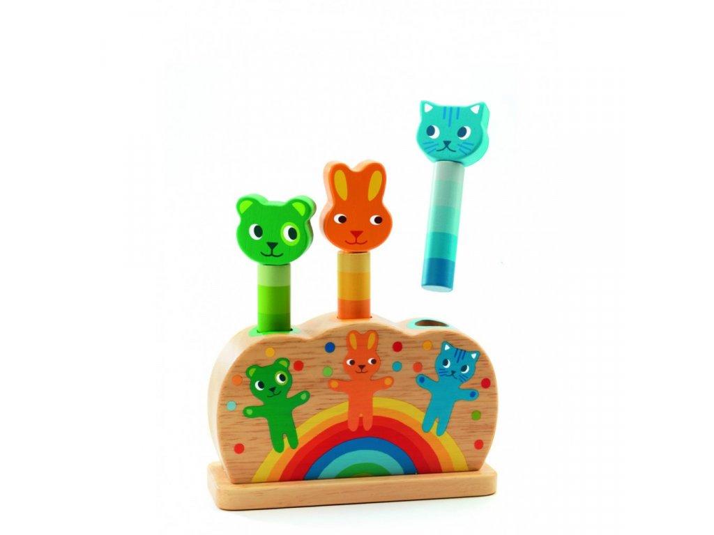 Dřevěná hračka vyskakovací zvířátka
