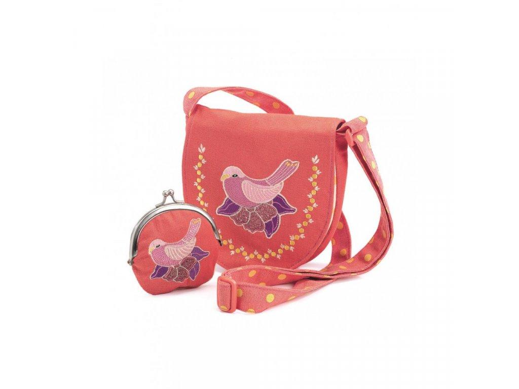 Set kabelka a peněženka Růžová holubice