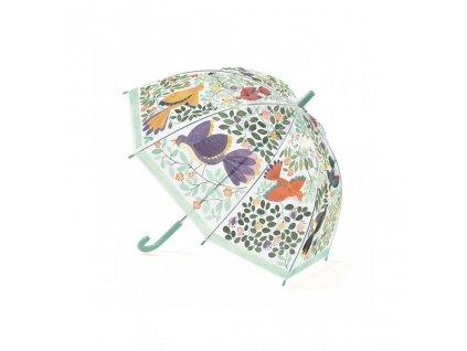 Krásný designový deštník květiny a ptáci