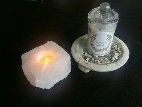 Bylinková sviečka v skle - Biela Šalvia, Céder
