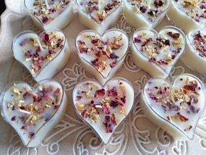 Svadobné sviečky srdiečko - Jazmín, Ruža