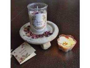 Bylinková sviečka v skle - Ruža, santalové drevo