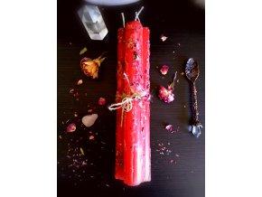 Bylinková rituálna sviečka s ružou