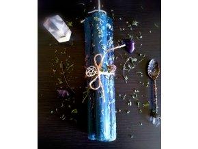 Bylinková rituálna sviečka modrá s tymiánom