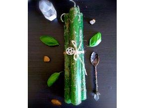 Plnofarebná bylinková rituálna sviečka zelená s bazalkou