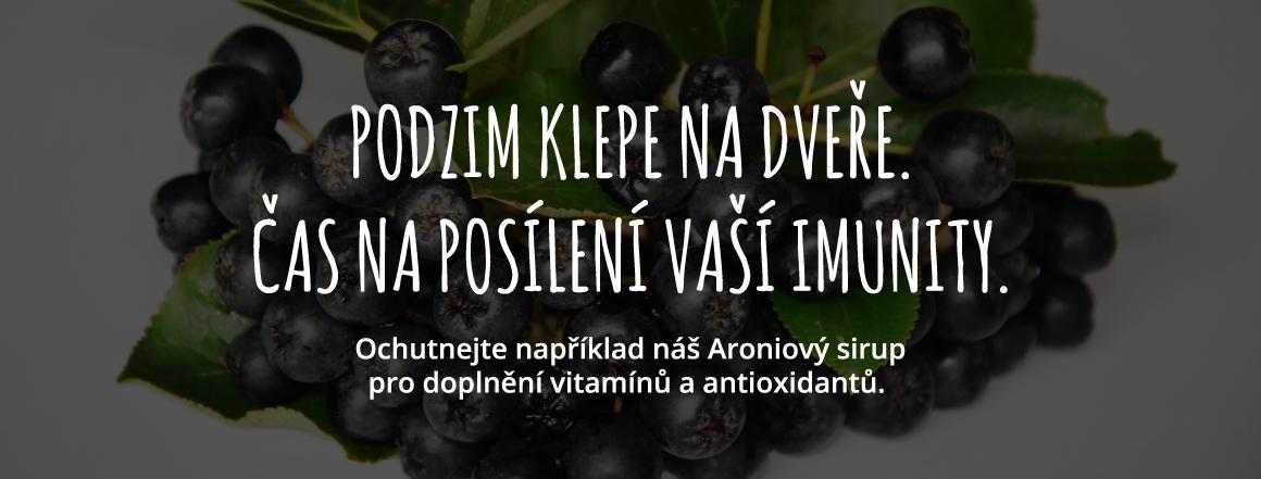 Podzim klepe na dveře. Čas na posílení vaší imunity.Ochutnejte náš Aroniový sirup pro doplnění vitamínů a antioxidantů.