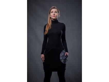 Fleecová sukně ČERNÁ S JEDNOU KAPSOU