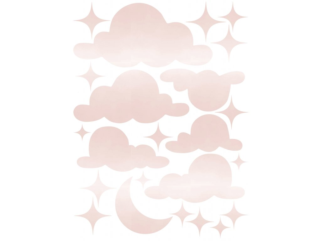 Cloud stars watercolor pink