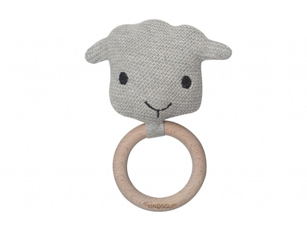 KINDSGUT dřevěné kousátko s chrastítkem ovečka