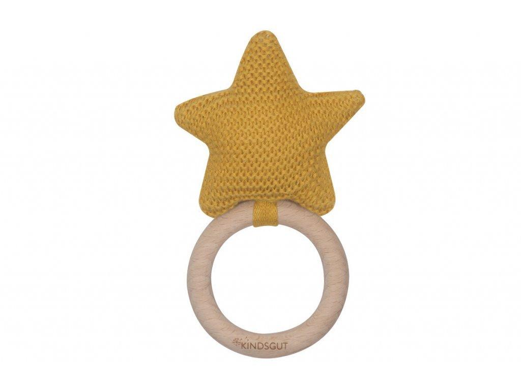 KINDSGUT dřevěné kousátko s chrastítkem hvězdička
