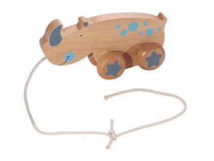 KINDSGUT dřevěná tahací hračka nosorožec