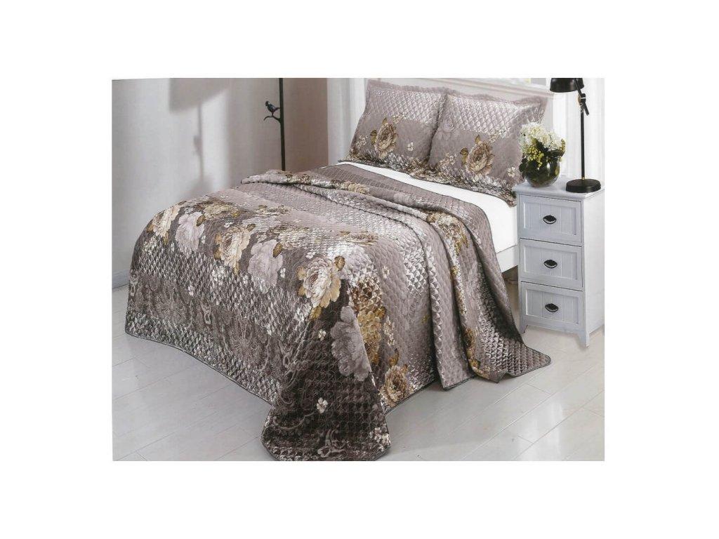 Luxusní prošívaný žakárový přehoz na postel Lida 230x250 cm