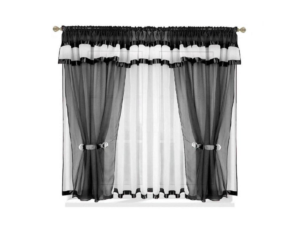 37 Voálová kusová záclona s závěsem Alena černá 400x150 cm