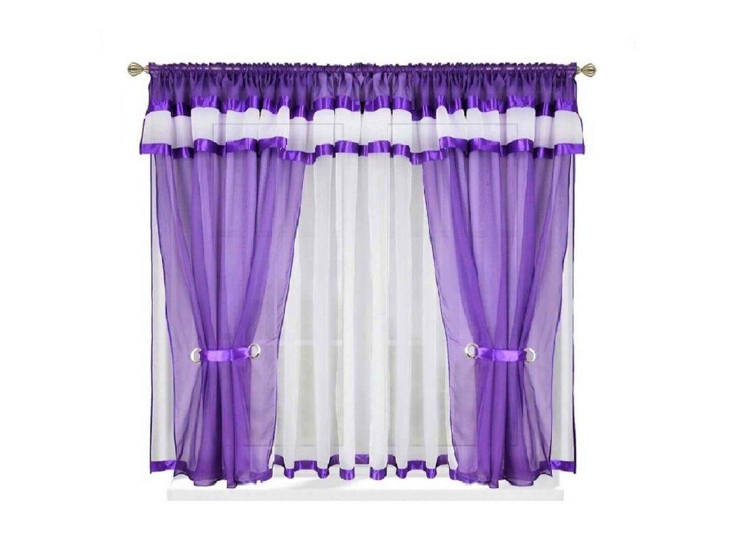 37 Hotová voálová záclona s závěsem Alena tm. fialová 400x150 cm