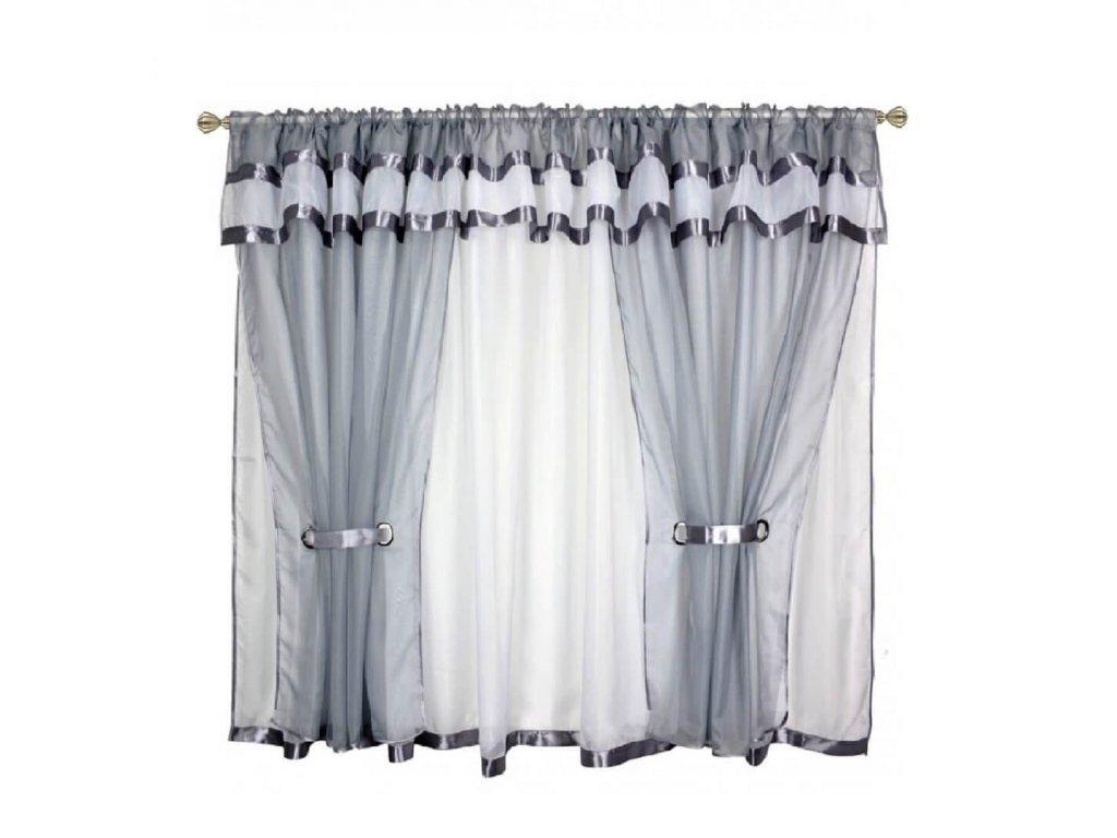 37 Voálová kusová záclona s závěsem Alena šedá 400x150 cm