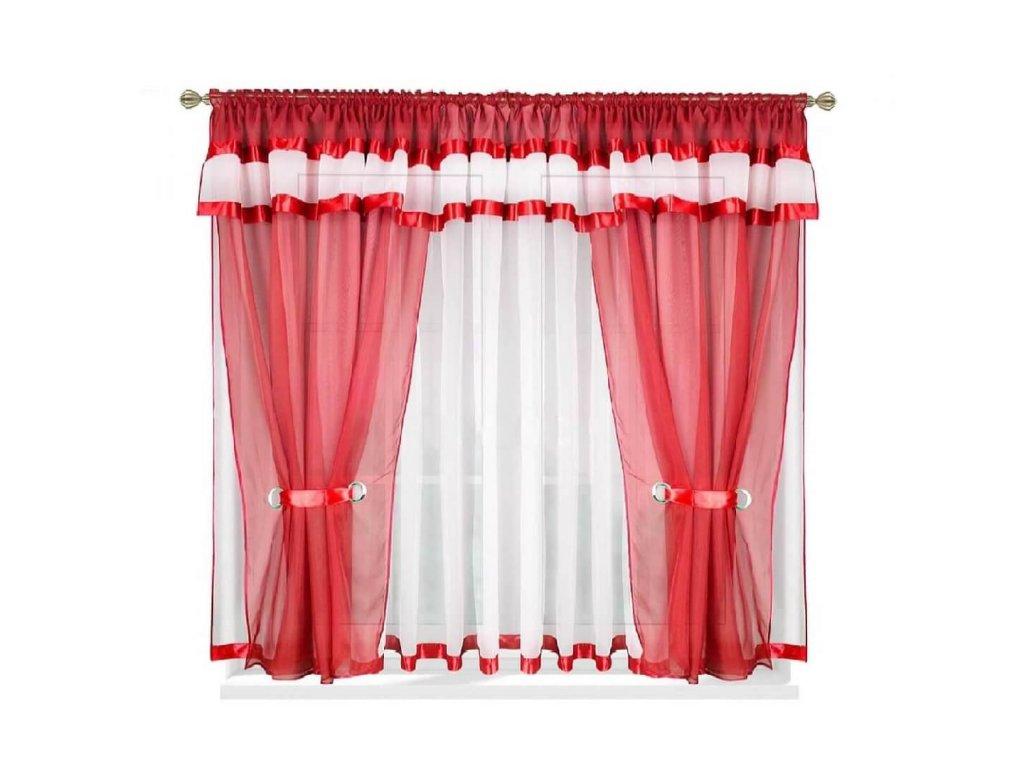 37 Voálová kusová záclona s závěsem Alena červená 400x150 cm
