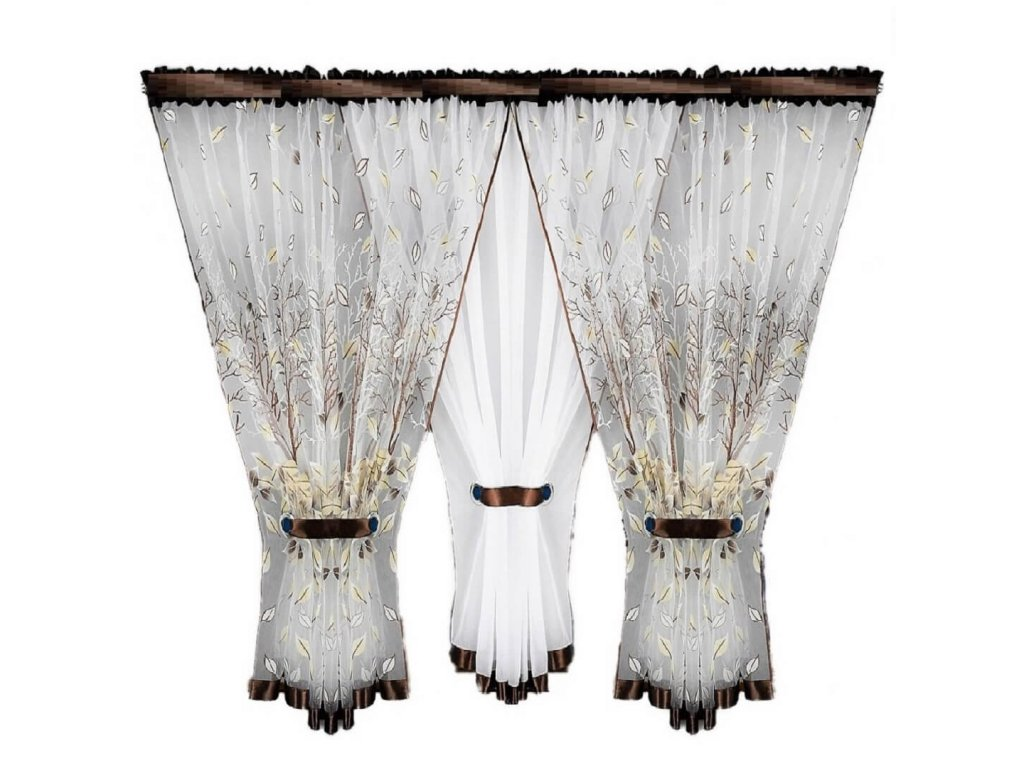 Hotová kusová záclona trojdílná Větvičky hnědá 400x150 cm