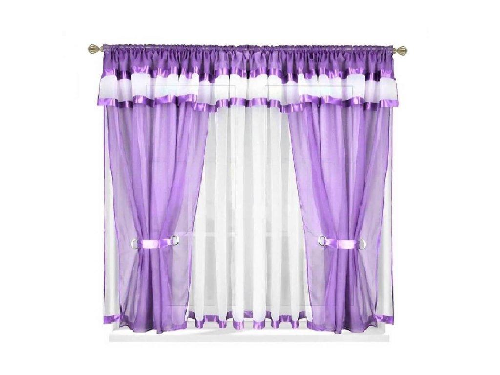 37 Voálová kusová záclona s závěsem Alena sv. fialová 400x150 cm