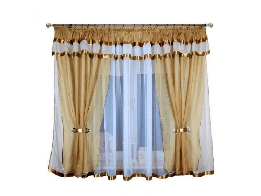 37 Voálová kusová záclona s závěsem Alena cappuccino 400x150 cm