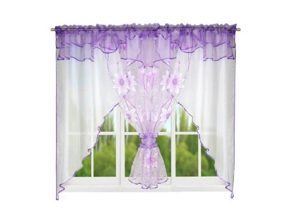 123 Hotová kusová záclona Claudia fialová 400x150 cm