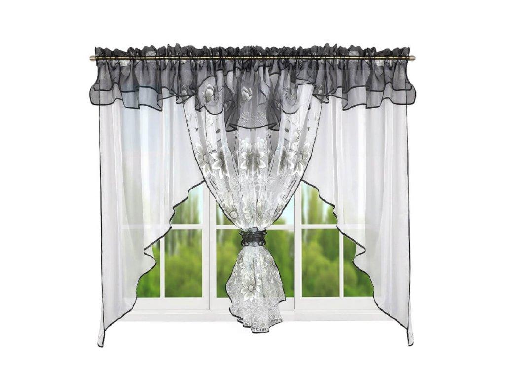 123 Hotová kusová záclona Claudia černá 400x150 cm