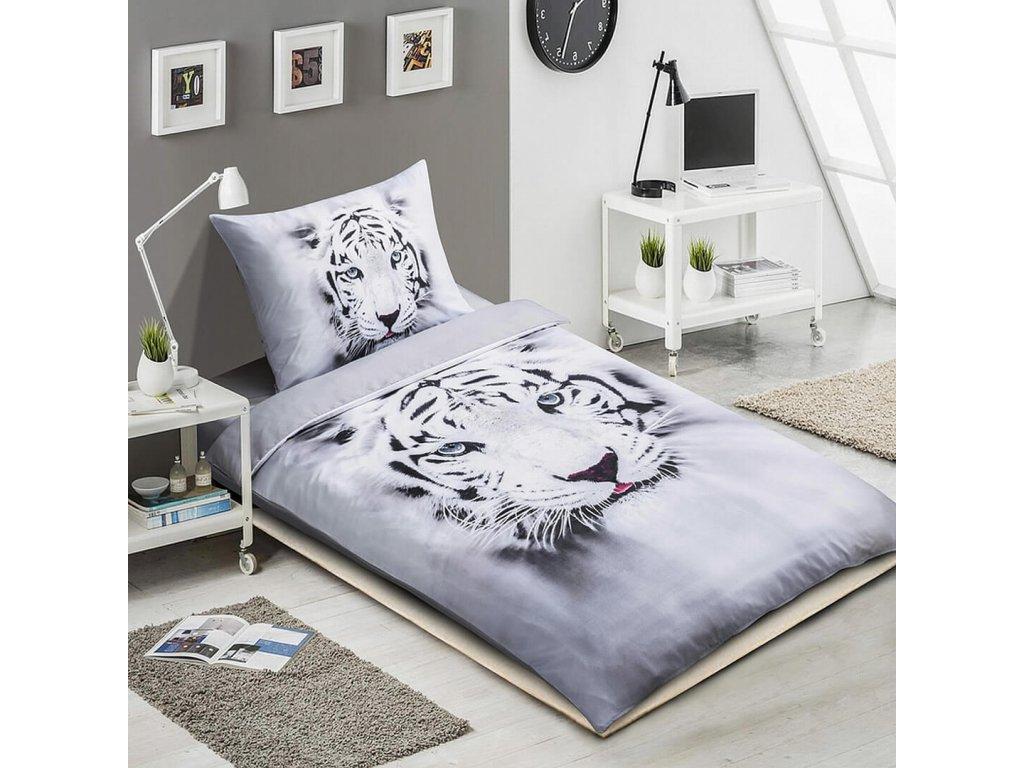 3D povlečení Bílý tygr 140x200 cm 70x90 cm