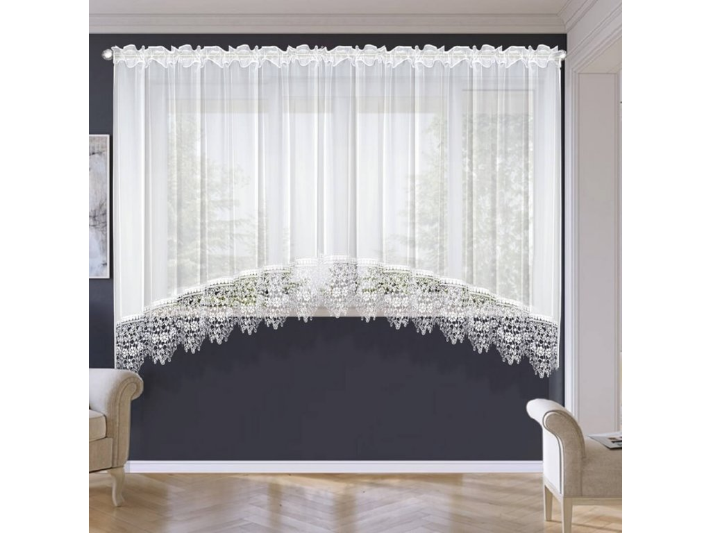 Hotová záclona Monika krajka bílá  400x180 cm