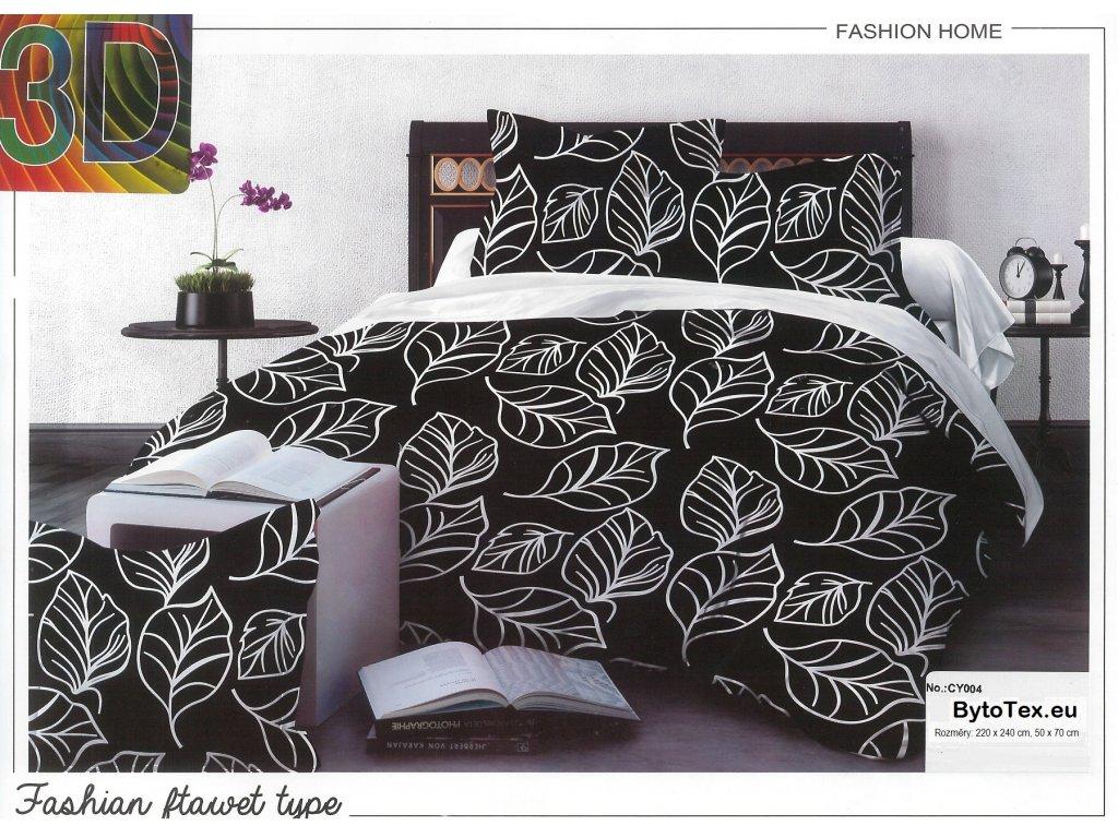Luxusní přehoz na postel Black leaves, 220x240 cm