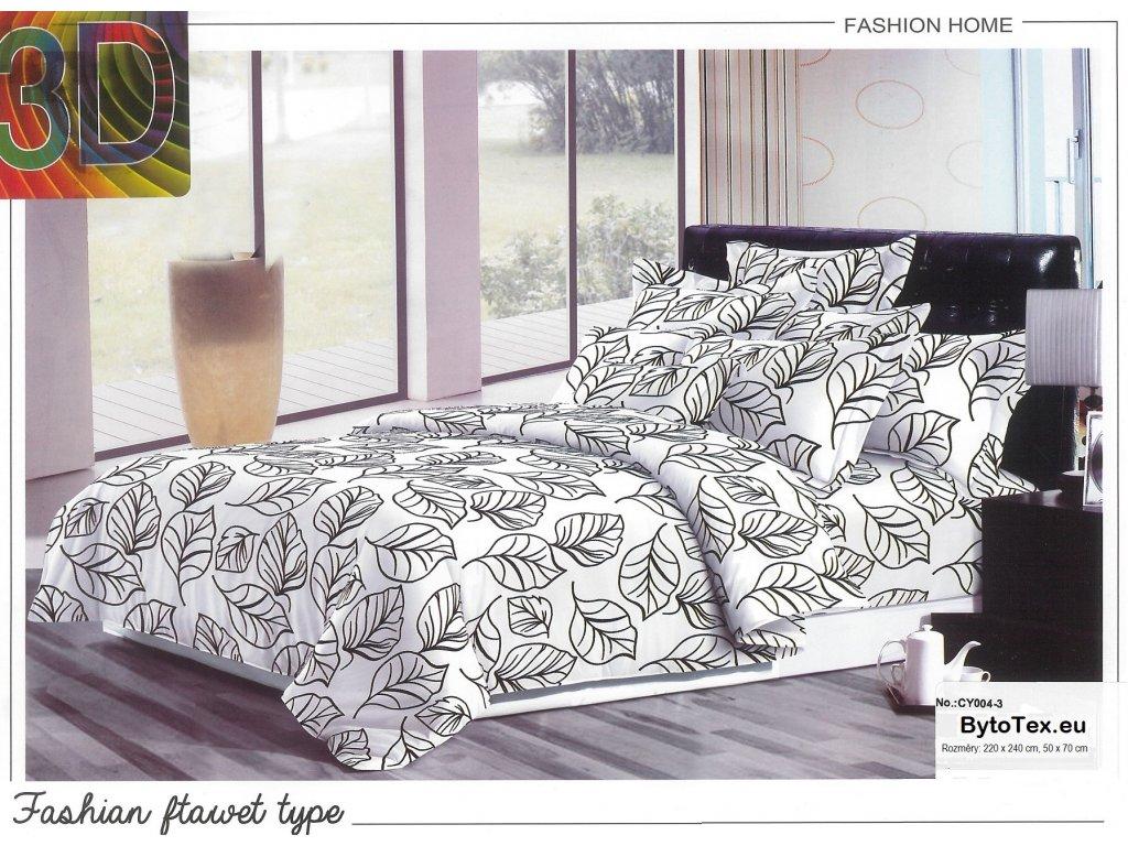 Luxusní přehoz na postel  White leaves, 220x240 cm