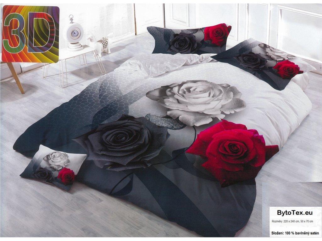 Luxusní prošívaný přehoz na postel Three Roses, 220x240 cm