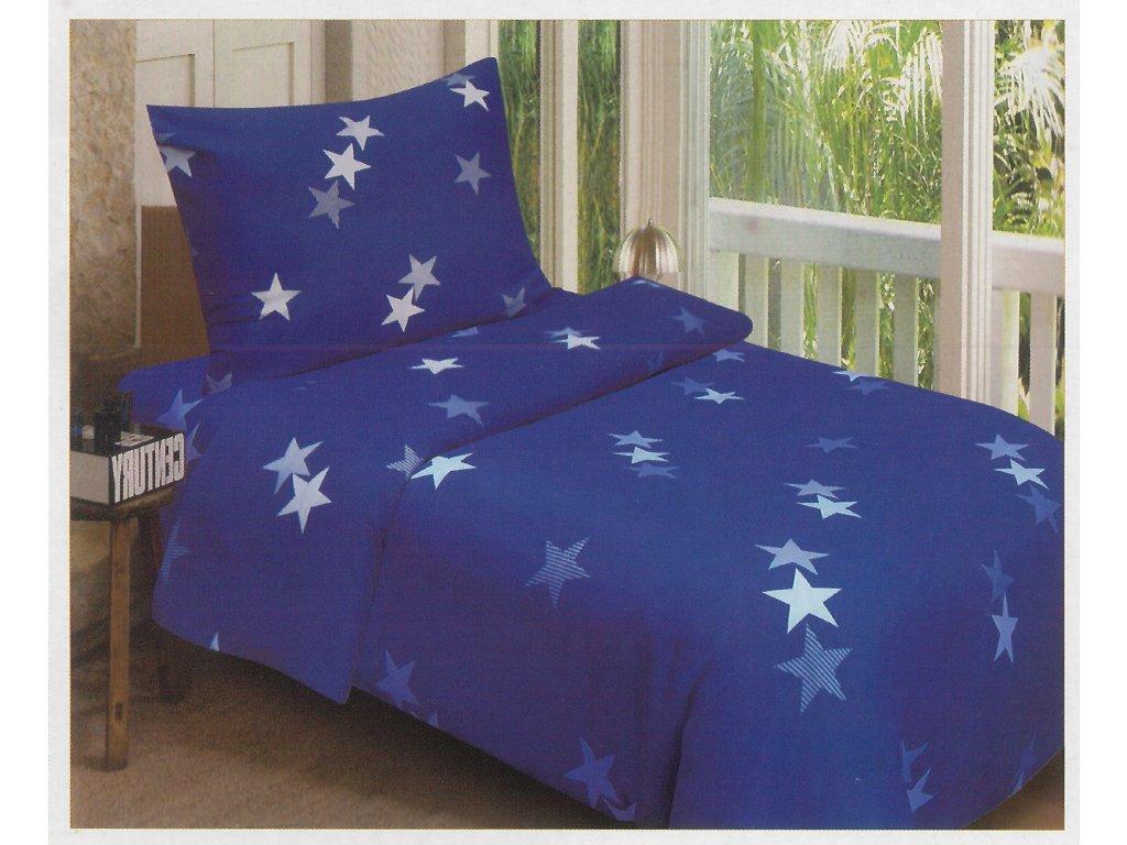 Ložní povlečení - Modré hvězdy (2) 140x200 cm 70x90 cm