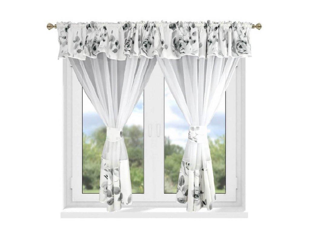 208 Luxusní hotová kusová záclona Milena šedá 400x160 cm