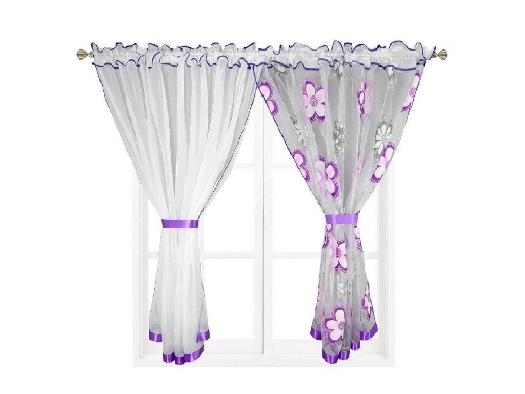 207 Hotová záclona Kokosové květiny fialová 400x150 cm 2