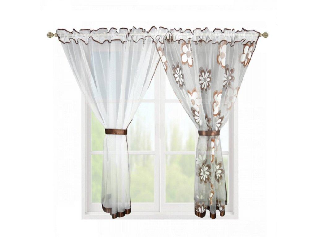 207 Hotová záclona Kokosové květiny hnědá 400x150 cm