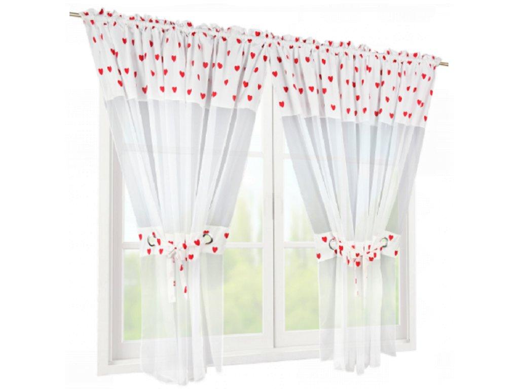 Hotová záclona dvoudílná Milena červená 400x160 cm