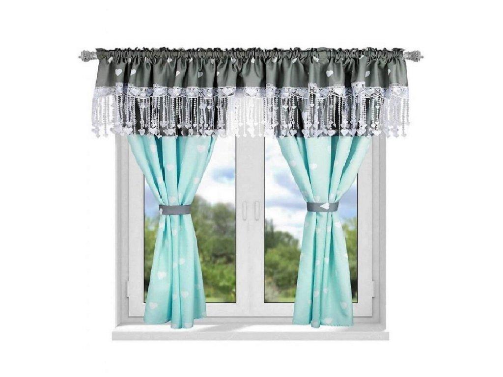 161 Luxusní hotová záclona Josefína modrá 300 x 160 cm