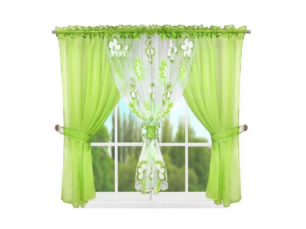 95 Hotová kusová záclona L 95 4 zelená 400x150 cm