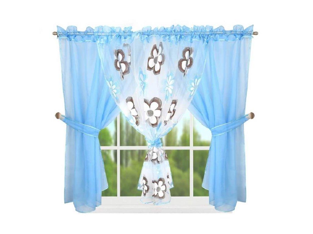95 Hotová kusová záclona L 95 4 modrá 400x150 cm