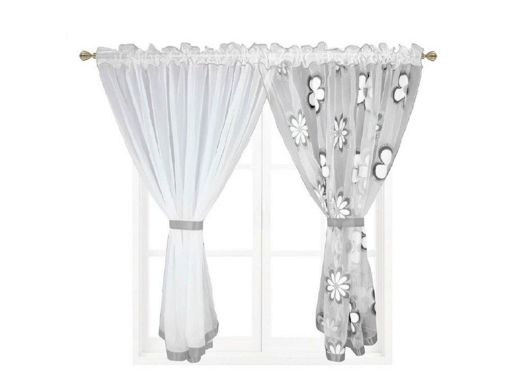 207 Hotová záclona Kokosové květiny šedá 400x150 cm