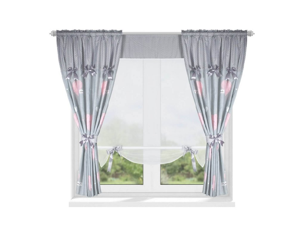 202 Luxusní hotová záclona s panelem Josefína šedo růžová 420 x 160 cm