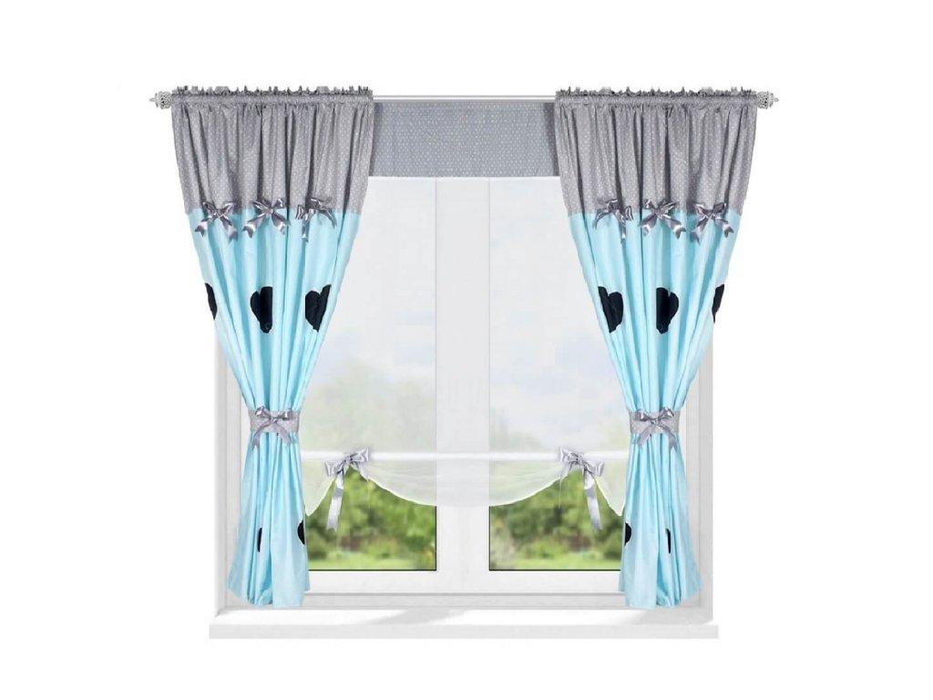 202 Luxusní hotová záclona s panelem Josefína modrá 420 x 160 cm