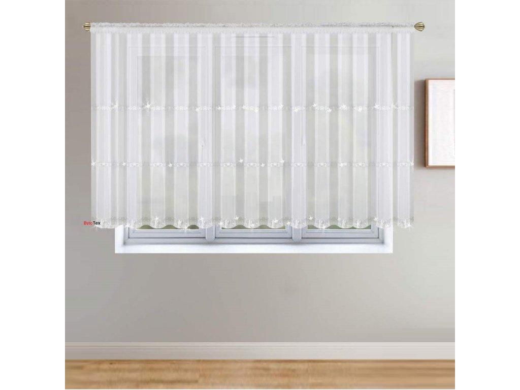 235 Hotová voálová záclona Helena bílá se zirkony 400x145 cm