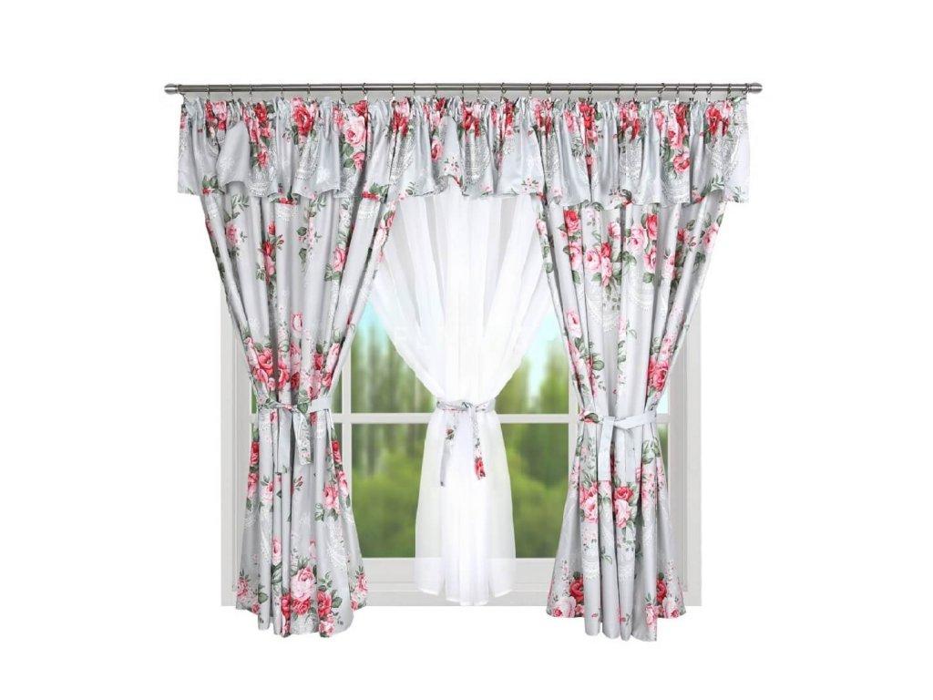 209 Hotová kusová záclona Eleonora růžová 400x160 cm