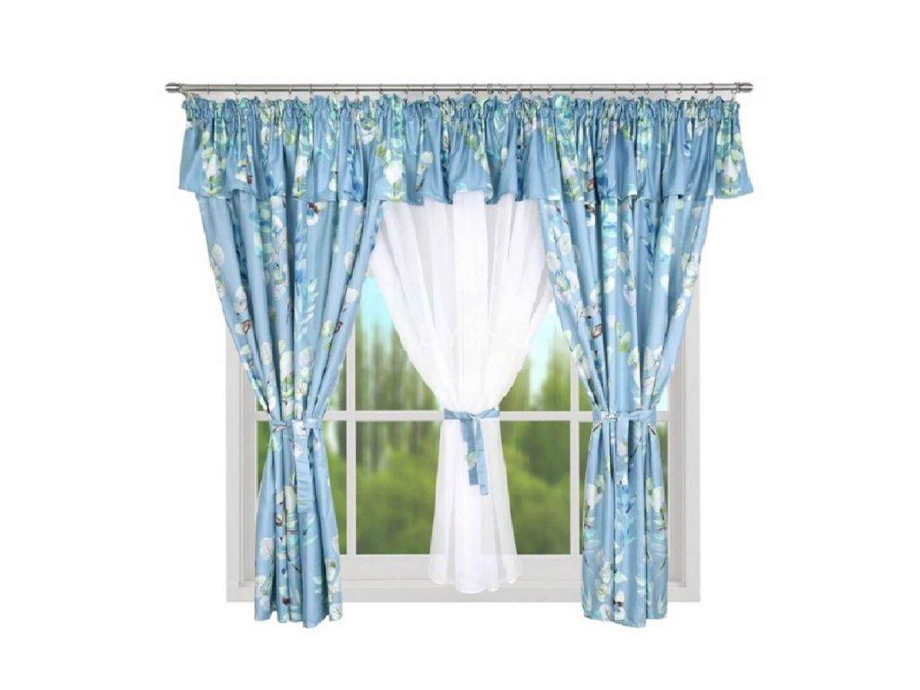 209 Hotová kusová záclona Eleonora modrá 400x160 cm