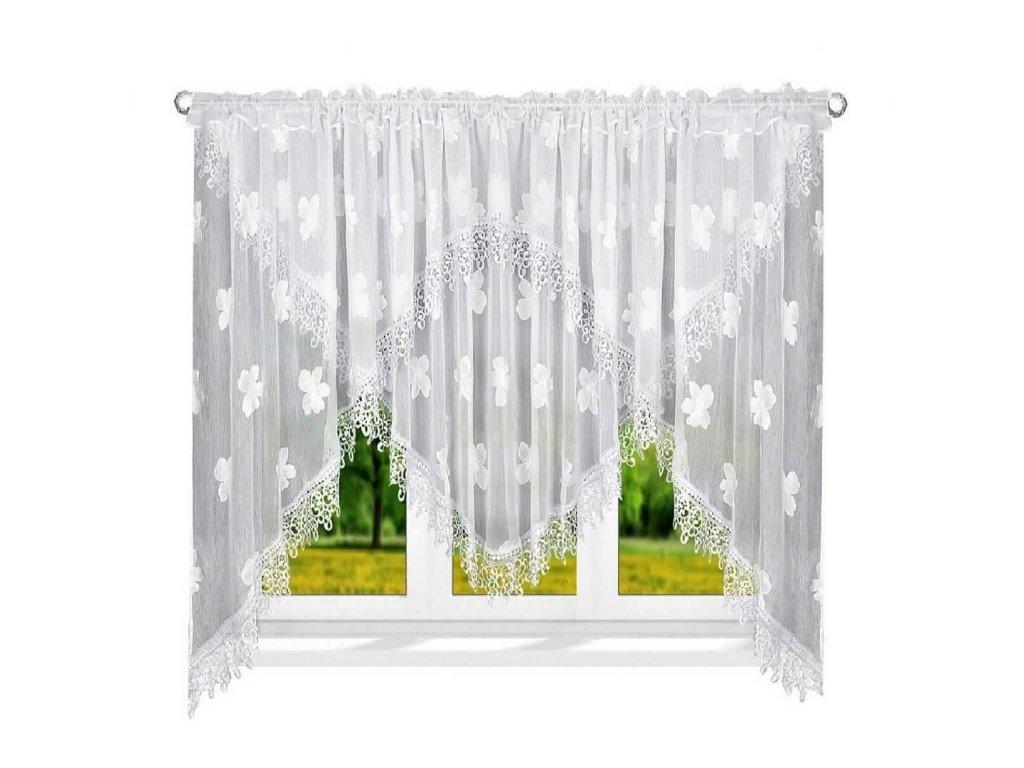 78 Luxusní hotová kusová záclona LG 78 bílé květy 400x170 cm